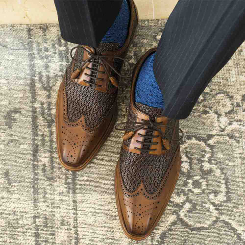 Mezlan Haydn Cognac & Brown Calfskin Perforated Design Wing Tip Men's Lace Up Shoes