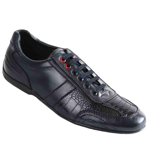 Los Altos Navy Blue Ostrich Leg Men's Casual Sneakers