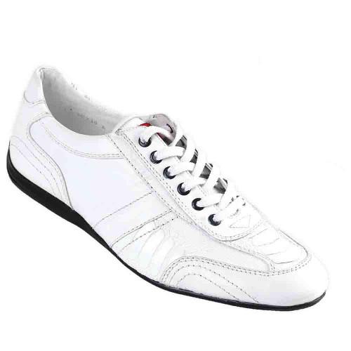 Los Altos White Ostrich Leg Men's Casual Sneakers