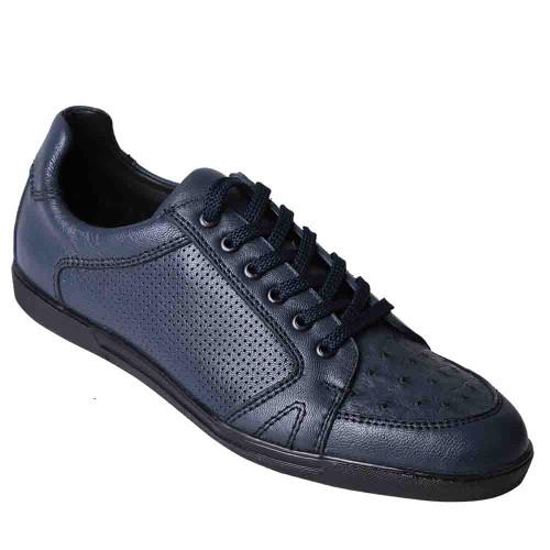 Los Altos Navy Blue Ostrich Men's Casual Sneakers
