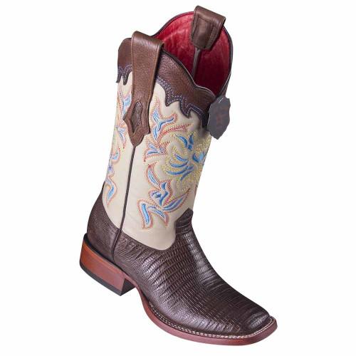Los Altos Brown Teju Lizard Square Toe Women's Western Boot