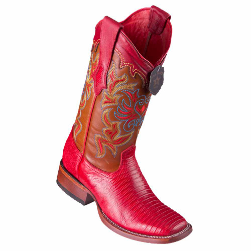 Los Altos Red Teju Lizard Square Toe Women's Western Boot