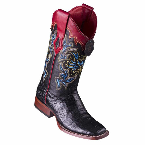 Los Altos Black Caiman Belly Square Toe Women's Western Boot