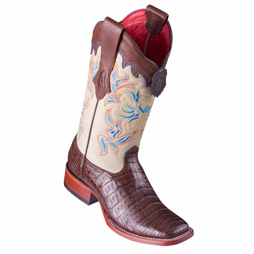Los Altos Brown Caiman Belly Square Toe Women's Western Boot
