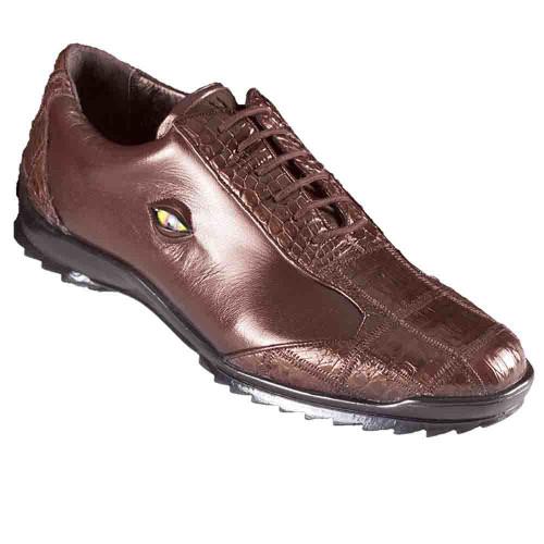 e09cfcbc029 Los Altos Brown Caiman Crocodile Patch Work Men's Casual Shoes