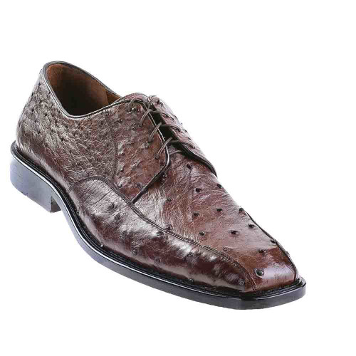 Los Altos Brown Full Quill Ostrich Bicycle Toe Men's Lace Up Shoes