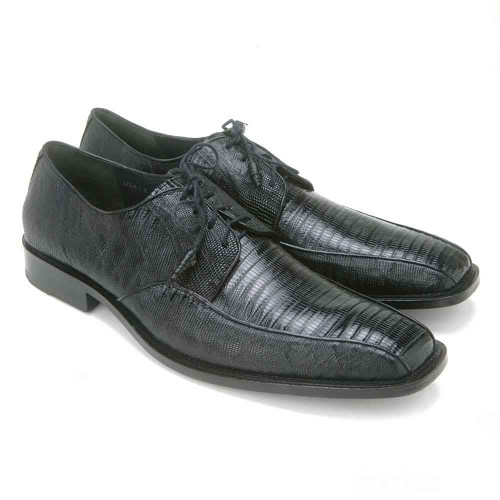 Los Altos Genuine Black Lizard Bicycle Toe Men's Lace Up Shoes