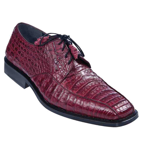 Los Altos Burgundy Caiman Belly Skin Bicycle Toe Men's Lace Up Shoes