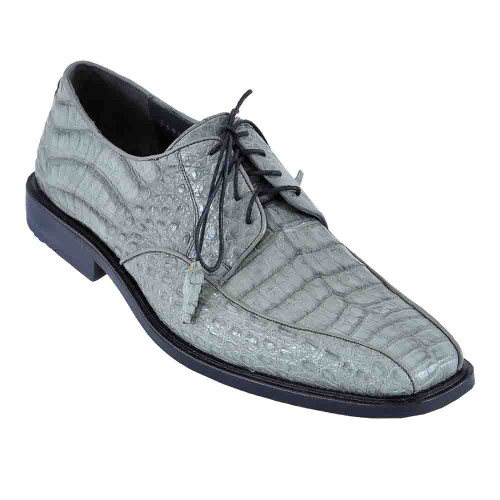 Los Altos Gray Caiman Belly Skin Bicycle Toe Men's Lace Up Shoes