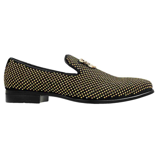 Stacy Adams Swagger Black & Gold Studded Ornament Men's Slip On