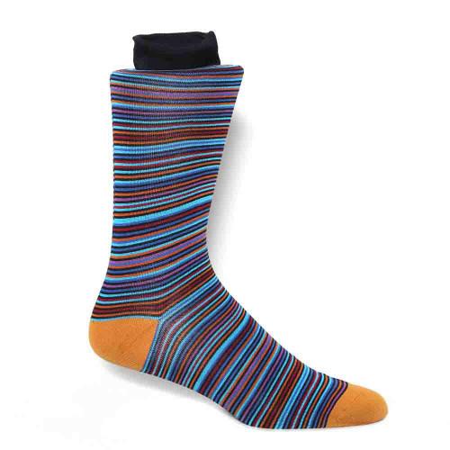 Tallia Black Multi tone Striped Men's Socks