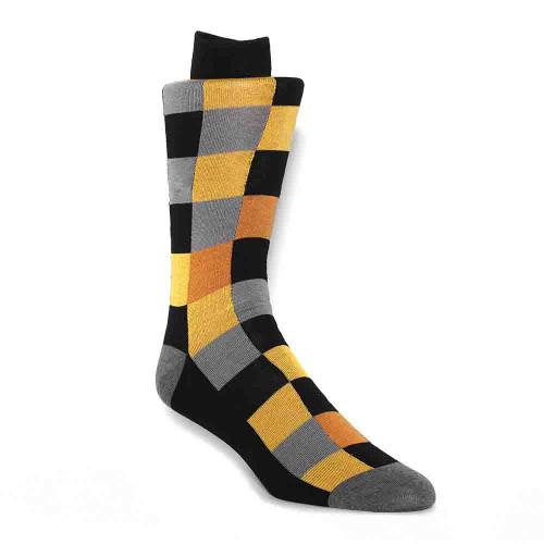 Tallia Gold Block Patterned Men's Socks