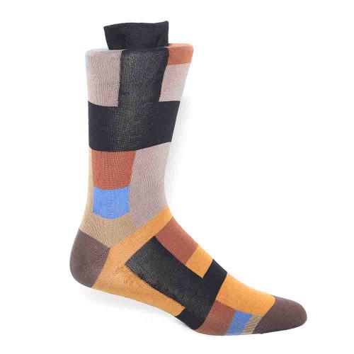 Tallia Black & Taupe Patterned Men's Socks