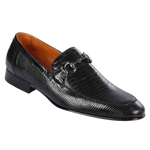 Lombardy Black Lizard Men's Slip On Shoes
