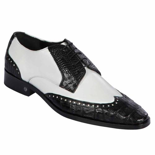Lombardy Black & White Genuine Crocodile & Calfskin Wing Tip Men's Oxford