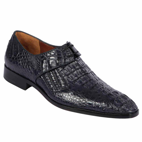Lombardy Navy Genuine Crocodile & Calfskin Men's Slip On Shoes