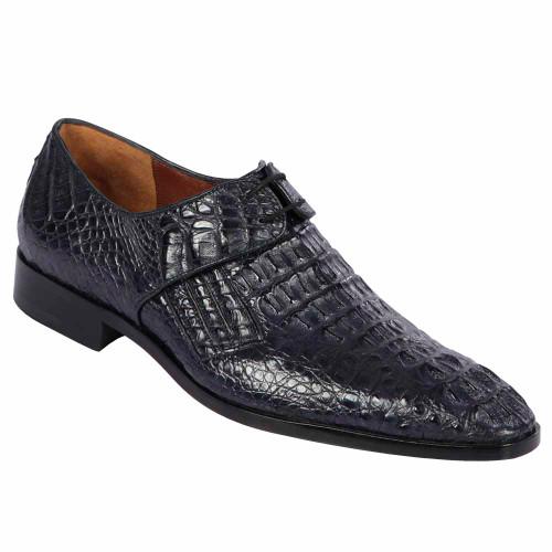 Lombardy Navy Genuine Crocodile & Calfskin Men's Slip On Shoes
