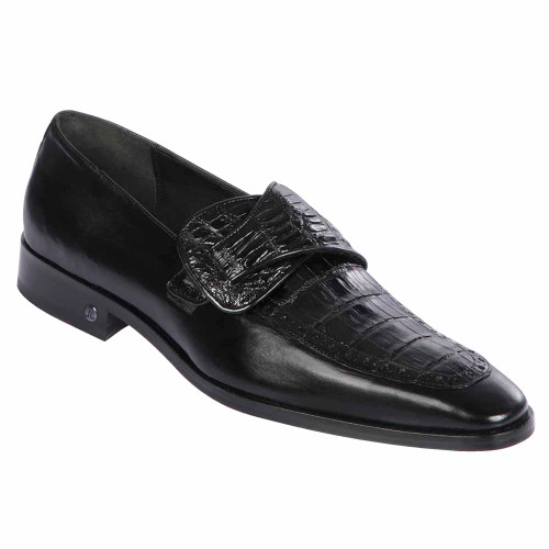 Lombardy Black Genuine Crocodile & Calfskin Men's Slip On Shoes