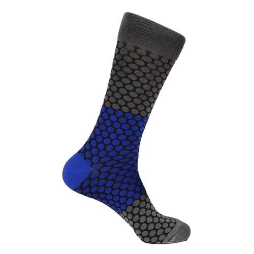 Steven Land Gray Multi Honeycomb Printed Pattern Men's Socks