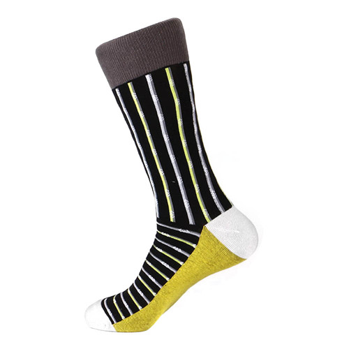 Steven Land Two Tone Stripes Pattern Black Multi Cotton Nylon Spandex Men's Socks