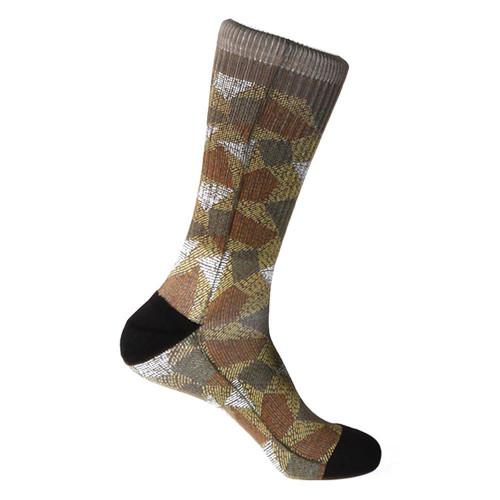 Steven Land Mosaic Pattern Brown Multi Cotton Nylon Spandax Men's Socks