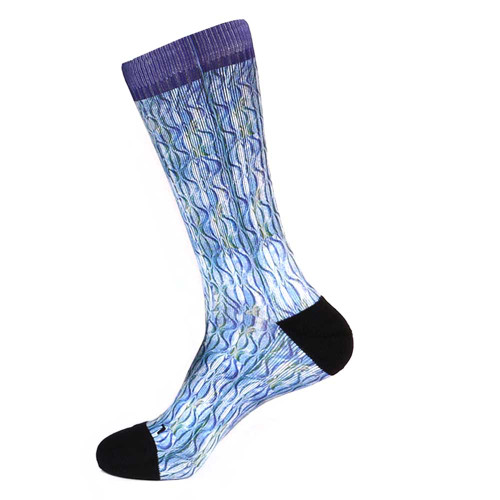 Steven Land Paisley Sublimation Pattern Blue Multi Cotton Men's Socks