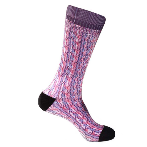 Steven Land Paisley Sublimation Pattern Purple Multi Cotton Nylon Spandax Men's Socks