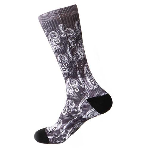 Steven Land Paisley Sublimation Pattern Black Multi Cotton Nylon Spandax Men's Socks