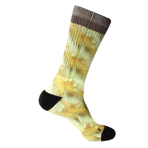 Steven Land Paisley Sublimation Pattern Yellow Multi Cotton Nylon Spandax Men's Socks