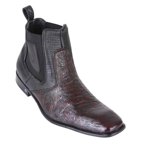 Vestigium Black Cherry Genuine Smooth Ostrich Men's Chelsea Boots