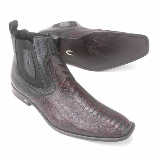 Vestigium Black Genuine Ostrich Leg Men's Chelsea Boots