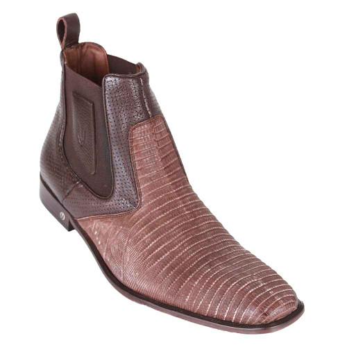 Vestigium Sanded Brown Genuine Lizard Men's Chelsea Boots