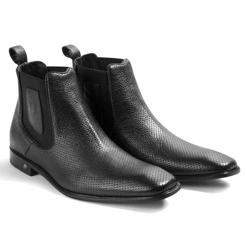 Vestigium Black Grisly Leather Men's Chelsea Boots