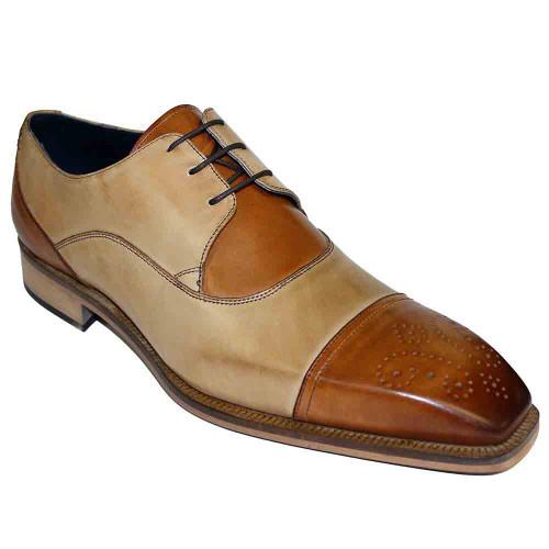 Duca Roma Cognac & Neutro Calfskin Cap Toe Men's Oxford