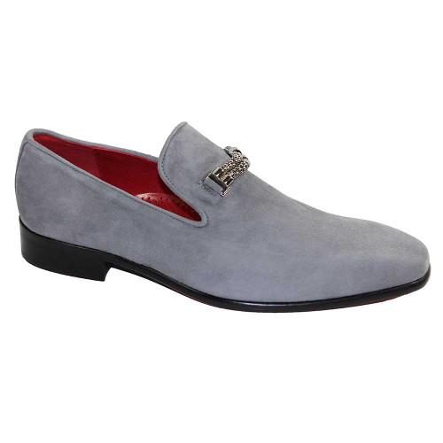 Emilio Franco Francesco Light Grey Premium Suede Men's Slip On Loafers