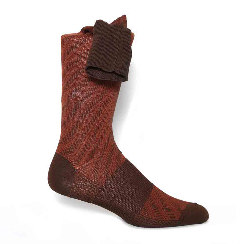 Johnston & Murphy Maroon Stripped Pattern Calf Length Men's Socks