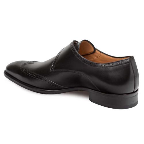 Mezlan Forest Black Calfskin Leather Men's Modern Wing Tip Oxford
