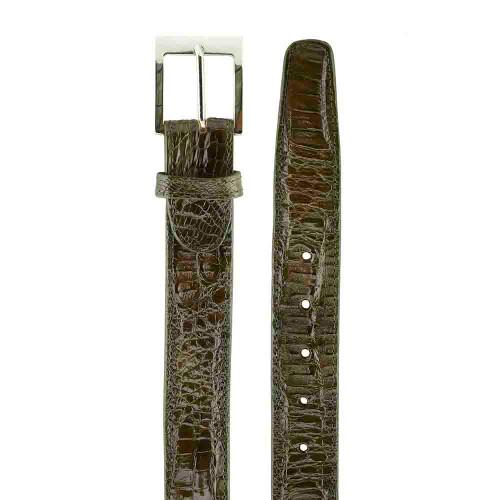 Belvedere Chapo Olive Genuine Hornback Crocodile Matching Belt