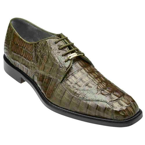 Belvedere Chapo Olive Genuine Hornback Crocodile Men's Dress Shoe
