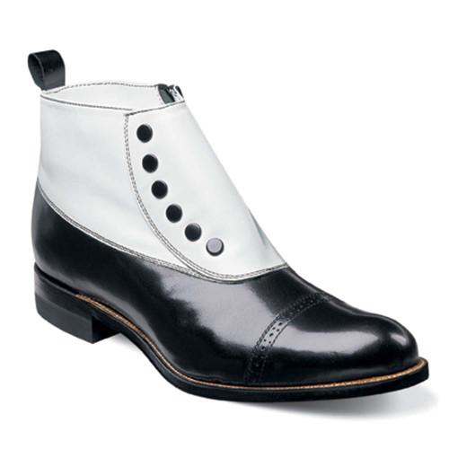 Stacy Adams Madison Black & White Spat Kidskin Ankle Boot