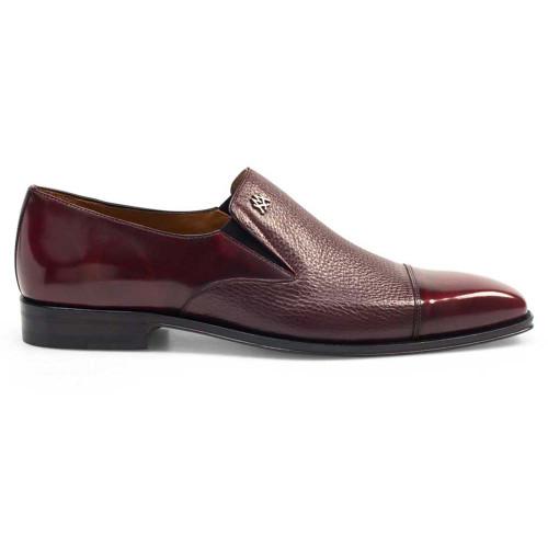 Mezlan Milani Burgundy Calfskin & Deerskin Men's Classic Dress Slip On
