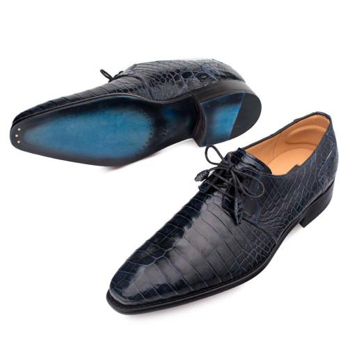 Mezlan Moscow Blue Genuine Full Alligator Men's Plain Toe Oxford