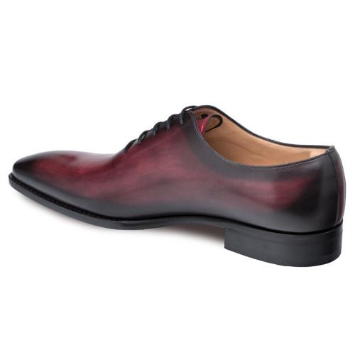 Mezlan Pamplona Burgundy Calfskin Leather Men's Plain Toe Balmoral Shoe