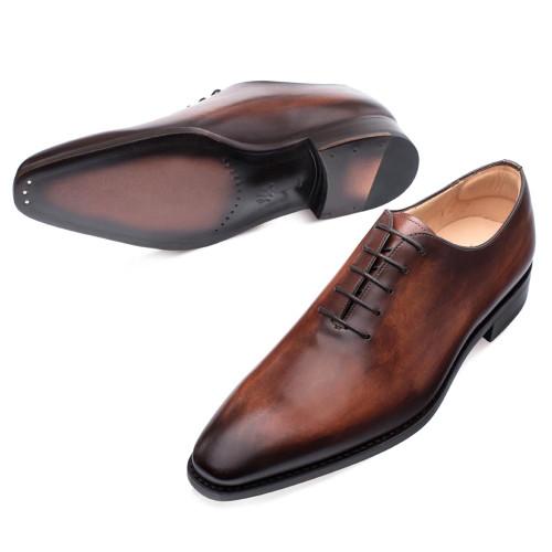 Mezlan Pamplona Cognac Calfskin Leather Men's Plain Toe Balmoral Shoe