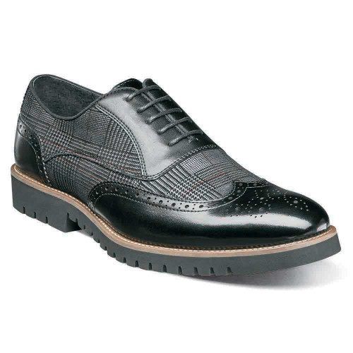 Stacy Adams Baxley Black Smooth Leather & Printed Suede Men's Wingtip Oxford