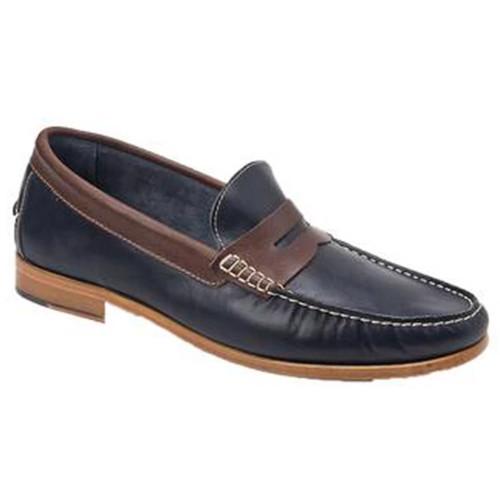 Sandro Moscoloni Braga Navy & Brown Leather Handsewn Men's Moc Toe Slip On Loafer