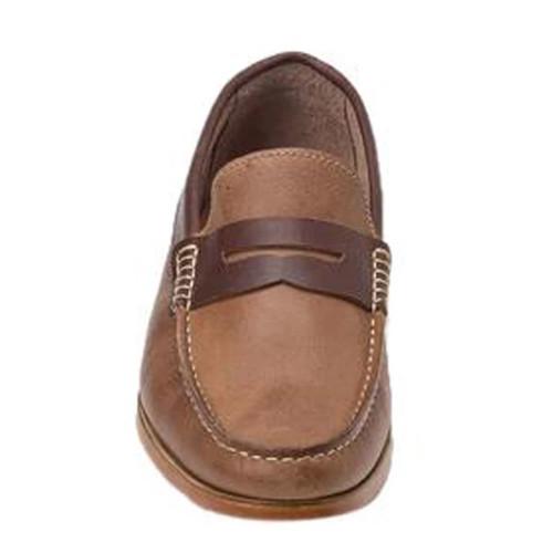 Sandro Moscoloni Braga Tan & Brown Leather Handsewn Men's Moc Toe Slip On Loafer