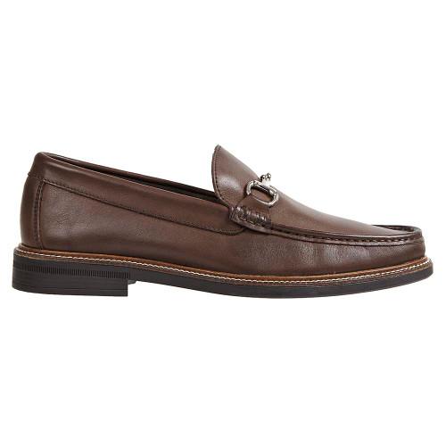 Sandro Moscoloni Lucio Brown Leather Handsewn Ornament Men's Moc Toe Slip On Loafer