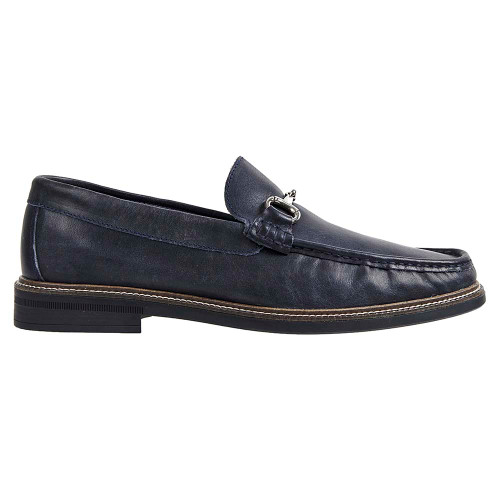 Sandro Moscoloni Lucio Navy Leather Handsewn Ornament Men's Moc Toe Slip On Loafer