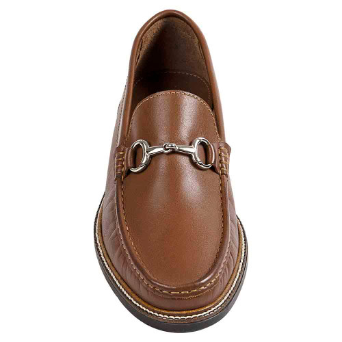 Sandro Moscoloni Lucio Tan Leather Handsewn Ornament Men's Moc Toe Slip On Loafer